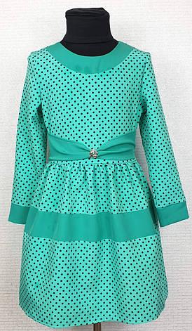 Платье для девочки детское в горошек р. 116-134 опт мята, фото 2