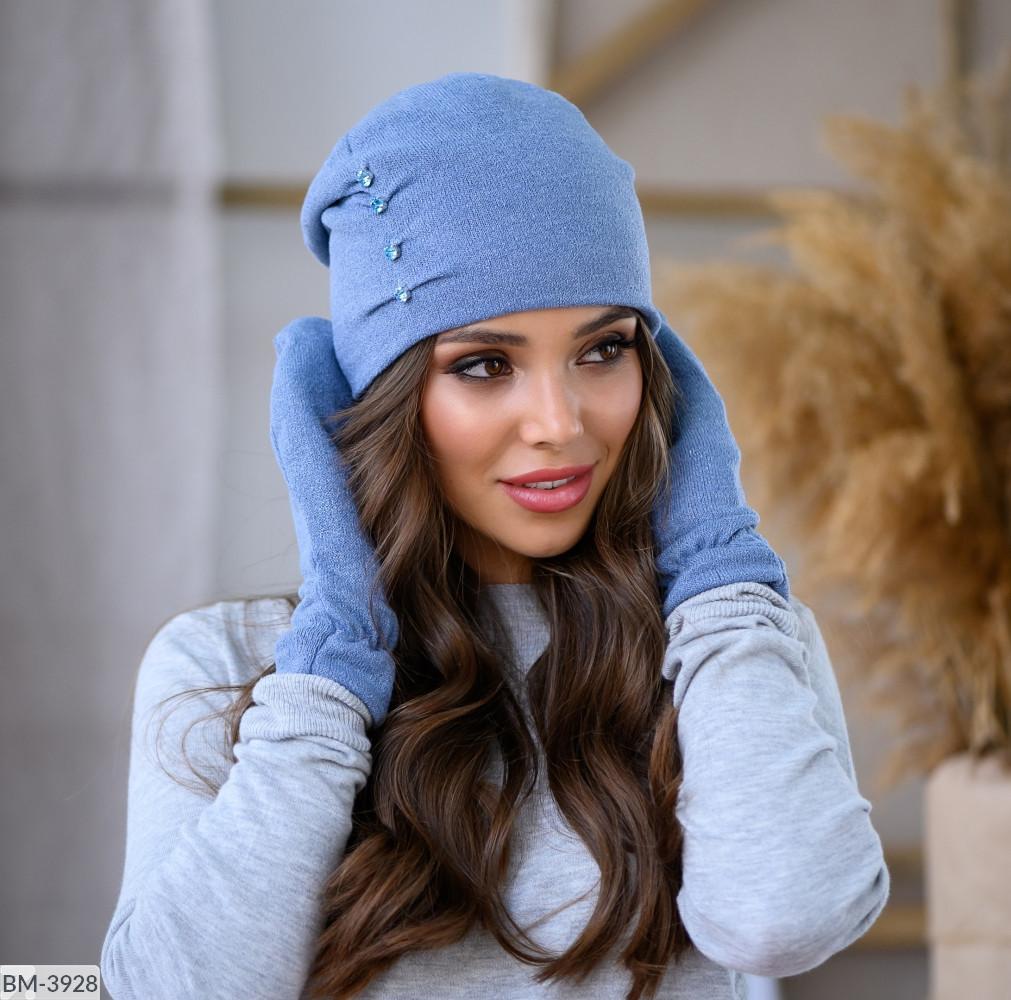 Комплект набор  шапка+ варежки женский зимний вязка много цветов Новинка