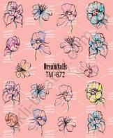 Слайдер-дизайн «Цветы» TM - 872 Dream Nails (водные наклейки)