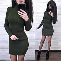 Платье мини вязаное под горло, хаки, фото 1