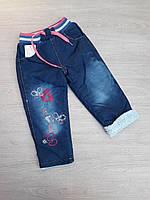 """Детские тёплые джинсы для девочки """"Бабочки""""2-5лет, синего цвета"""