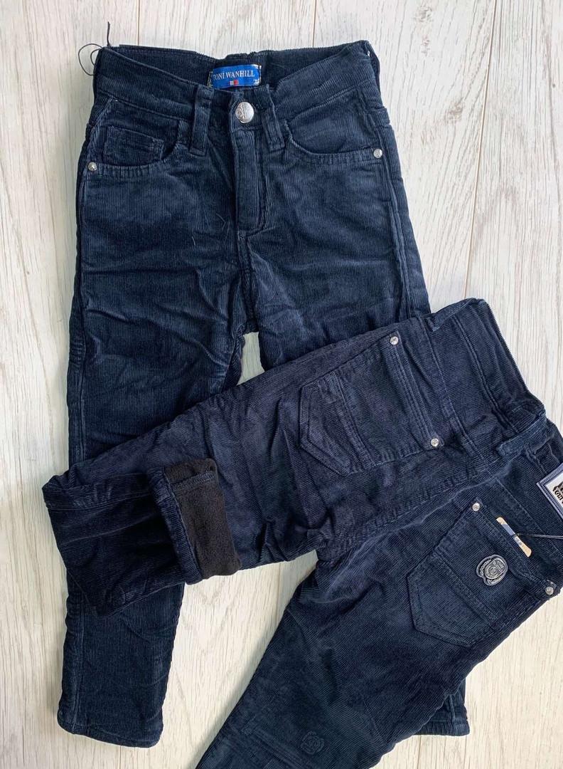 Штаны вельвет  на флисе  для мальчиков   цвет темно синие  146-158 см