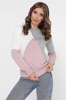 Трёхцветный вязаный свитер Триколор полушерсть