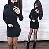 Вязаное обтягивающее платье мини, черное