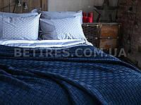 Плед - покрывало вязаное 220x240 BETIRES HARRISON MARINE (50% бавовна, 50% акрил) синее