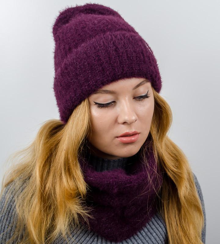 """Комплект женский, шапка+бафф, """"Келли"""", (Марсала)"""