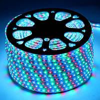 Светодиодная LED лента  5050 RGB 220V, дюралайт бухта 100м цветная