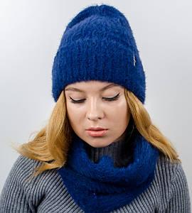 """Комплект женский, шапка+бафф, """"Келли"""", (Синий)"""