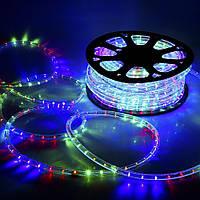 Світлодіодна стрічка LED 5050 RGB 220V, дюралайт різнобарвний 100 метрів, фото 1