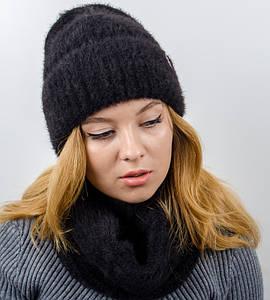 "Комплект женский, шапка+бафф, ""Келли"", (Черный)"