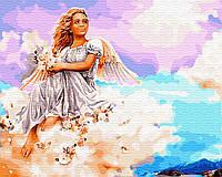 Раскраска по цифрам Ангел на облаке (BK-GX29953) 40 х 50 см BrushMe [Без коробки]
