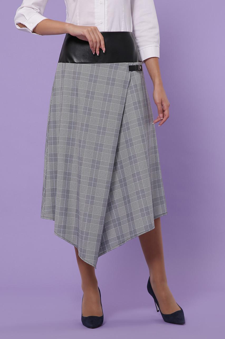 Женская клетчатая юбка серая, в расцветках, р.S,M,L,XL
