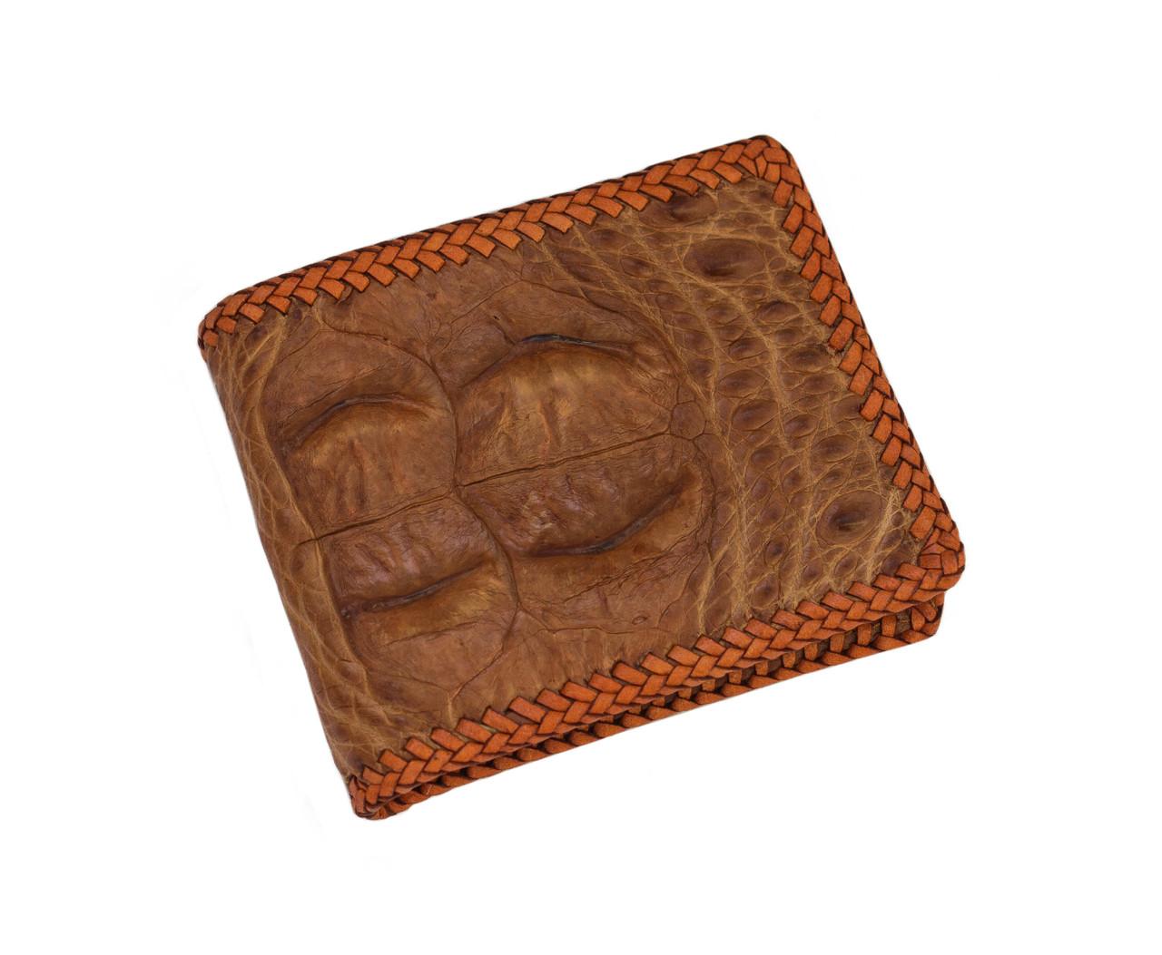 Гаманець зі шкіри крокодила з опліткою Коричневий (cw17_1)