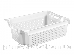 Пластиковый ящик 600х400х200 белый перфорированный, фото 1