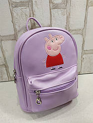 Качественный рюкзачок из Эко-кожи для девочки Peppa Pig Свинка Пеппа (фиолетовый)