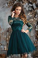 Вечернее платье Meelan габардин, гипюр (изумрудный, р.42-46)
