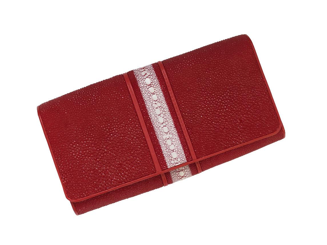 Кошелек женский Ekzotic leather из натуральной кожи морского ската Красный (stw 79_2)