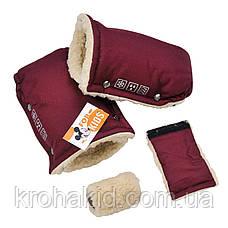 Теплые зимние рукавички на овчине для колясок, для санок / муфта теплые рукавицы на коляску, фото 3