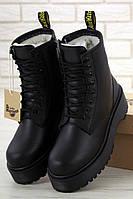 Женские зимние ботинки Dr. Martens Jadon Black (Доктор Мартинс Жадон черные) с мехом 39