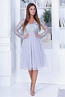 Нарядное нежное платье из кружева с пайеткой, V-образный вырез, ажурный длинный рукав, юбка из фатина  (42-46)