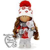Лялька тільда новорічна з мишкою ручної роботи, лялька тыквоголовка, лялька з вічками, Середня