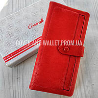 Стильний червоний жіночий шкіряний гаманець для великої кількості карток cossroll