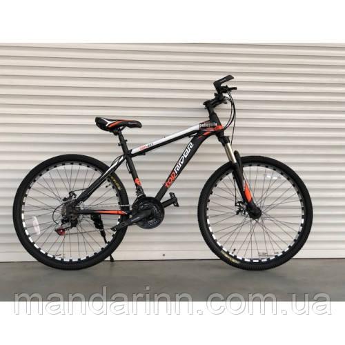 Спортивный велосипед TopRider-611 26 дюймов. Дисковые тормоза. Оранжевый.