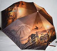 Женский коричневый зонт Три слона Полуавтомат на 9 спиц (ночной город)