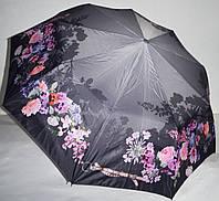 Женский серый зонт Три слона Полуавтомат на 9 спиц (цветы)