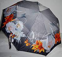 Женский серый зонт Три слона Полуавтомат на 9 спиц (цветы и бабочки)