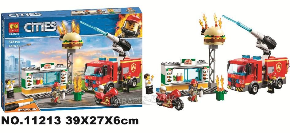 """Конструктор City 11213 """"Пожар в бургер-кафе"""" (аналог Lego City 60214), 345 дет"""