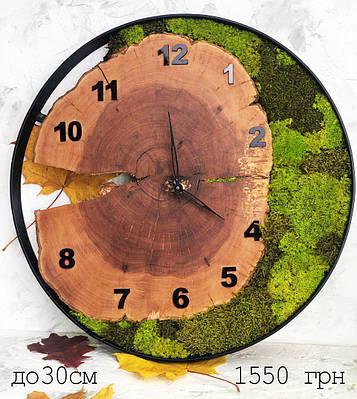 Часы в металлическом ободке из мхом (диаметр до 30 см)