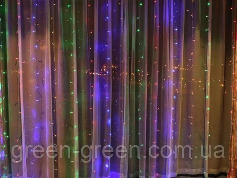 Гирлянда штора LED 120 лампочек с коннектором: размер 2х1,5м Цветная