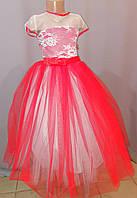 Красное бальное платье для девочки до 9 - 12 лет, фото 1