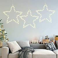 Гирлянда Мотив Звезда тепло-белая 40 см, работает от батареек, 156 led, новогодний декор, светящийся верхушка