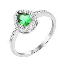 Серебряное кольцо с изумрудом и фианитами 000132678 16 000132678