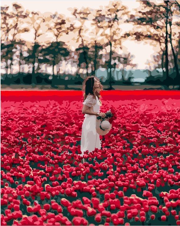 Картина по Номерам 40x50 см. Девушка в поле тюльпанов BrushMe