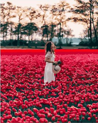 Картина по Номерам 40x50 см. Девушка в поле тюльпанов BrushMe, фото 2