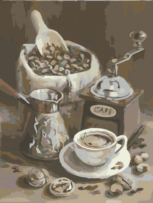 Картина по Номерам 40x50 см. Утреннее кофе Идейка