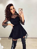 Красивое женское платье с пышной юбкой из сетки горох ,черного цвета