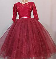 Бордовое детское бальное платье на 6 - 10 лет, фото 1