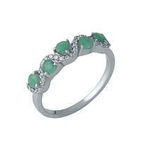 Серебряное кольцо Тамхина с изумрудами и извилистой дорожкой фианитов 17.5 000105526