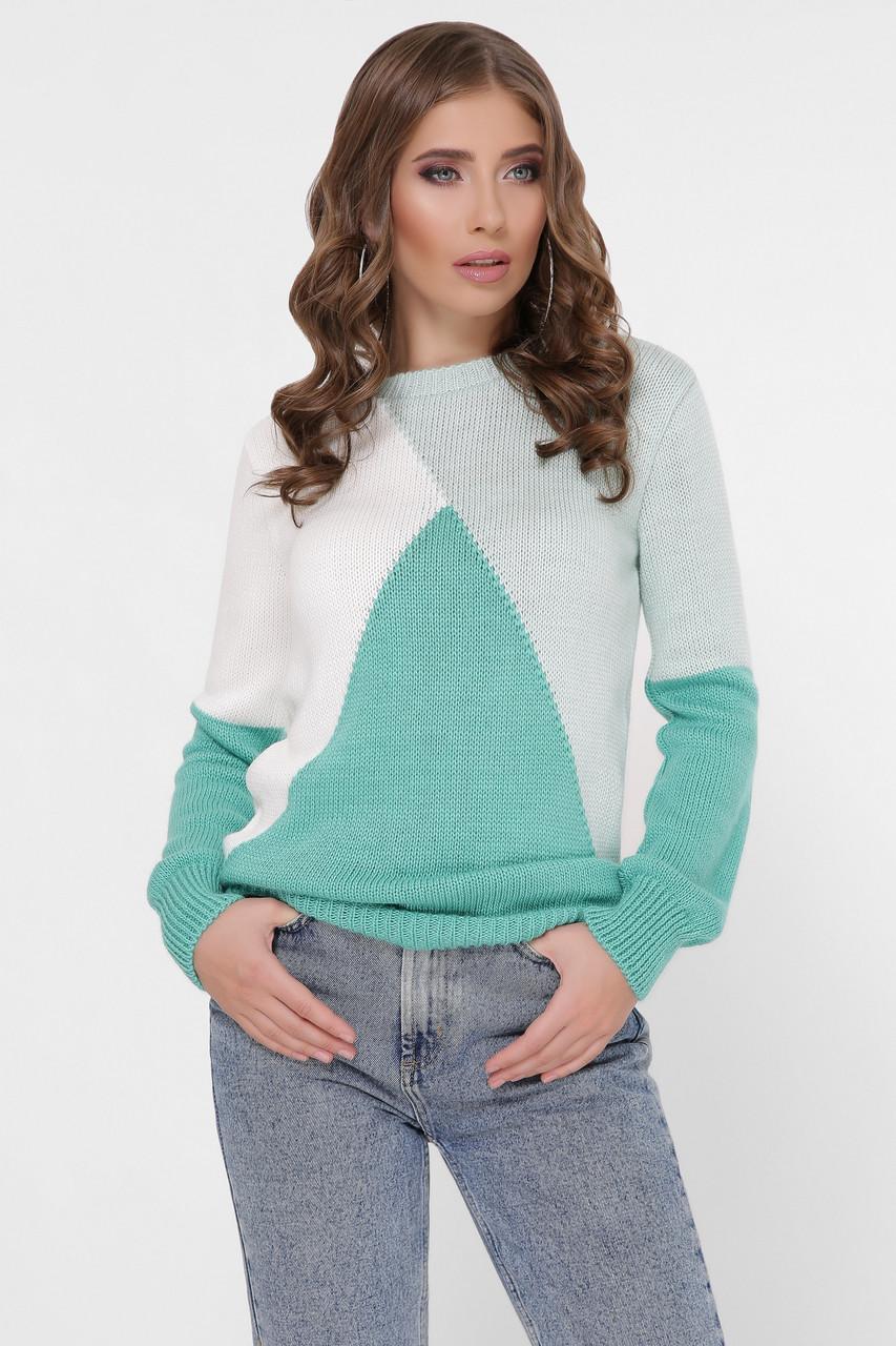 Трёхцветный вязаный свитер Триколор-1 полушерсть
