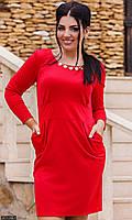 Платье молодежное большого размера 8511248-1 красный 50 52 54 56