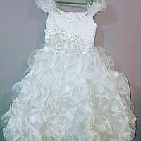 Белое детское бальное платье на 4- 8 лет