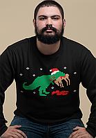 Мужской свитшот с новогодним принтом-приколом  Динозавр пожирает оленя