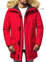 Мужская зимняя парка удлиненная с мехом красная J.Style 201810 молодежная