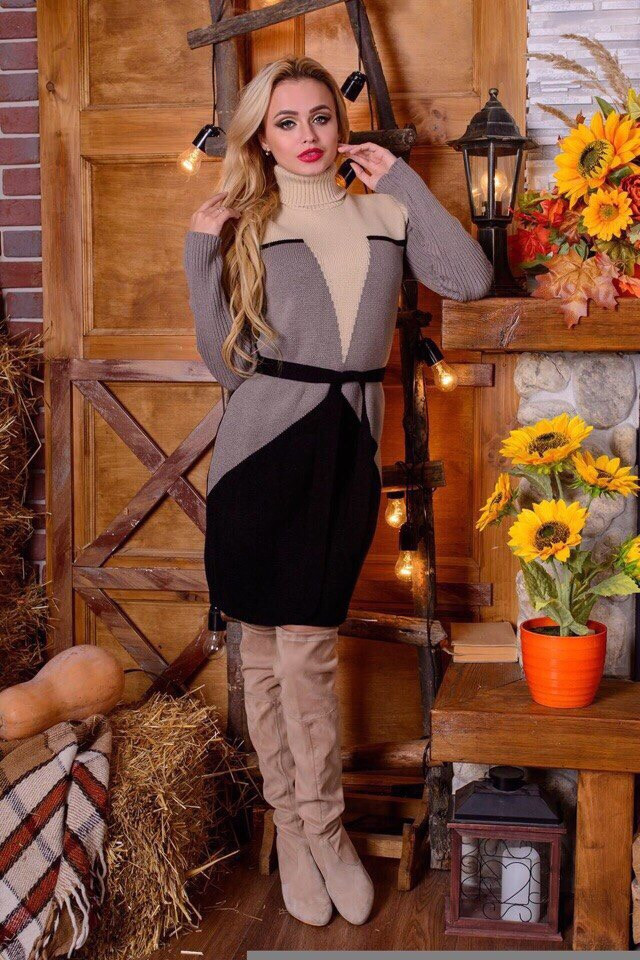 Женское платье корсет акрил шерсть 42-48