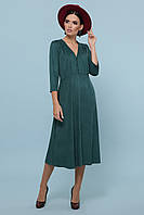 Зеленое расклешенное платье ниже колен