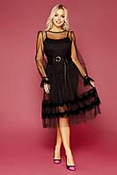 Черное коктейльное платье из сетки